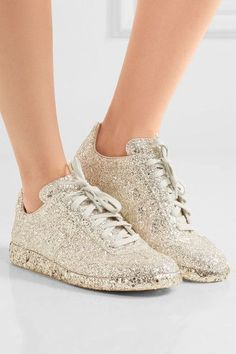 0ae8f18d871d0 Maison Margiela - Glittered leather sneakers. Gold TrainersPrinted Yoga  PantsMaison MargielaAthleisure FashionGlitter ShoesLeather ...