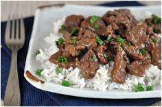 Crock Pot Mongolian Beef--Done this many times with venison and beef.  I have edited the recipe slightly to include a brief silkening marinade in the soy sauce, sherry and cornstarch already in the recipe, and replaced the wine with vermouth.