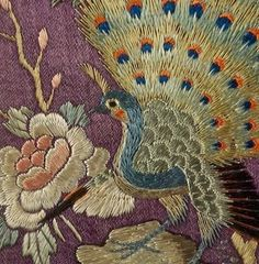 Detail from an antique Chinese embroidered purple silk sash, Qing Dynesty