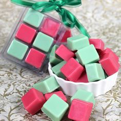 Green & Red Vanilla Wax Melts - Soap Queen (I would use winter/Christmas scents... Deb)
