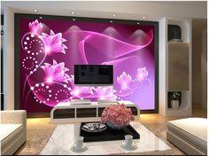 Custom 3d foto wallpaper 3d murales de pared papel tapiz de Ensueño flor púrpura…