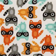 cute white racoon fabric by Robert Kaufman (per yard multiples) Textures Patterns, Fabric Patterns, Print Patterns, Kids Patterns, Kawaii, Woodland Creatures Nursery, Woodland Critters, Cute Animal Illustration, Animal Illustrations