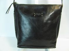 ELLINGTON Medium Black Leather Crossbody Bag Satchel Shoulder Handbag Purse #Ellington #MessengerCrossBody