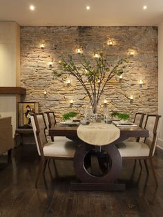 Love the accent wall with candles