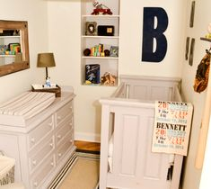 Classic Boy Nursery with the Panel Crib and Six Drawer Dresser...we have the crib in red in our showroom and love it!