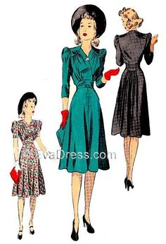D40-5087; 1940 Dress 8-piece pattern originally by DuBarry Pattern Co., 'A softly styled afternoon dress with the back cut in one with the shoulder yokes. The surplice bodice is draped in flattering f