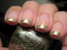 Liven up your nails this fall with a gold french manicure. An easy DIY project....I'll try silver
