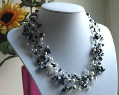 Black Onyx, white freshwater pearls, Hematite necklace floating pearls and beads multistrand invisible illusion pearls gemstone beads Pearl Gemstone, White Freshwater Pearl, Gemstone Beads, Hematite Necklace, Beaded Necklace, Handmade Jewelry, Unique Jewelry, Baroque Pearls, Black Onyx