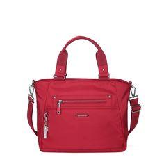 Bellamy Leather Trimmed Multi Function Satchel Bag in Jester Red by Beside-U #satchelbag #BesideU