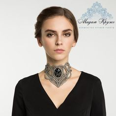 """Items similar to Bobbin necklace """"Lady Vamp"""" Russian bobbin handmade lace on Etsy Elephant Jewelry, Elephant Earrings, Lace Earrings, Lace Necklace, Leather Handcuffs, Tatting Lace, Unique Bracelets, Lace Collar, French Lace"""