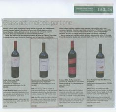 Top spot for Malbecs this week is taken by our Jean Bousquet Reserva Malbec.  Ernie Whalley Sunday Times 19 Jan 14