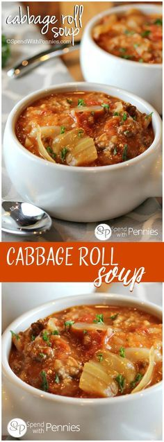 Low Unwanted Fat Cooking For Weightloss Cabbage Roll Soup Is My Favorite Way To Enjoy Cabbage Rolls Loads Of Cabbage, Meat And Rice In A Flavorful Tomato Broth Make The Perfect Comfort Food Slow Cooker Recipes, Crockpot Recipes, Cooking Recipes, Healthy Recipes, Stevia Recipes, Meat Recipes, Vegetarian Recipes, Dinner Recipes, Cabbage Recipes