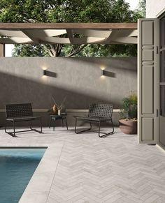 """Ute som inne passer den nye, fine serien """"Heritage"""" fra @unicomstarker_  det meste! Serien har mange forskjellige formater å velge mellom. Backyard Patio Designs, Backyard Ideas, Pool Decks, Terrazzo, Concrete, Contemporary, Outdoor Decor, Porcelain Tiles, Industrial"""