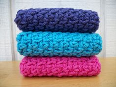 Set of Three Crocheted Dishcloth's / Washcloth's - pinned by pin4etsy.com