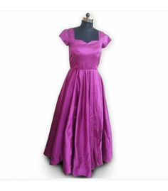 Simple Long Gown in Wine Color