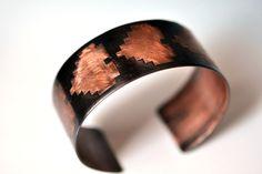 8 Bit Hearts Etched Copper Cuff Bracelet