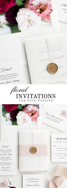 The Kaitlyn wedding invitation suite is paired with Scarlett florals.  Scarlett features blush and red garden roses, burgundy dahlias, and pink lisianthus.