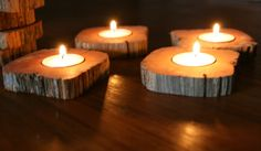 "Love these cedar candle holders!  ""IndustrialRewind"" on Etsy"
