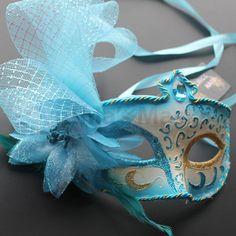 Aqua floral pvc Venetian Masquerade Mask by CynthiasMerchantOne