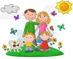 De dibujos animados feliz de la familia en contra de un hermoso paisaje