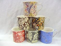 Set of 6 China Palace Mugs in assorted vintage William Morris designs by Heron Cross Pottery Abbeydale Collection
