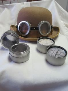 Tin Goggles | The Iron Tailor. Quite a few ideas on this site for various gadgets & costume gear from these basic goggles to fancier ones, as well as other accessories, advice and wings.