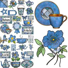 ArtbyJean - Paper Crafts: Set A24 - Blue Patchwork - A collection of clip art prints with patchwork patterns in shades of blue