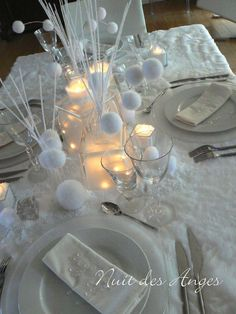 Nuit des anges décoratrice de mariage décoration de table hiver blanc 018