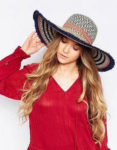 08e2ff80254f07 ALDO Floppy Straw Hat with Stripes and Frayed Trim at asos.com. Black ...