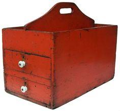 Late 19th century Pennsylvania Carpenter's Tool Carrier , original pumpkin paint