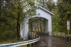 Photographing Oregon Short Covered Bridge over the Santiam River in Linn County, Oregon