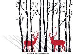 剪圖Clipart - 樺樹樹, 由于, 聖誕節, deers k11304503 - 搜尋美工圖片、插圖壁畫、圖示和向量 EPS 圖像 - k11304503.eps