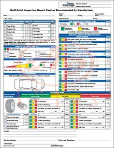 Ford multi-point inspection report card #1
