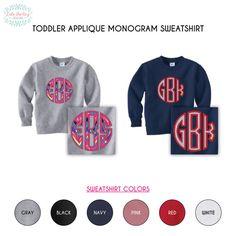 Toddler Monogram Applique Sweater Sweatshirt by LolaDarlingDesigns