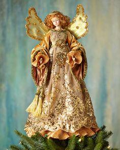 Angel Christmas Tree Topper, Angel Ornaments, Christmas Angels, Christmas Time, Christmas Fairy, Magical Christmas, Merry Christmas, Gold Christmas, Vintage Christmas