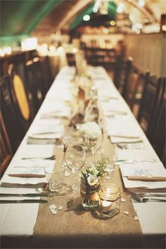Hessian table runners are perfect for a rustic wedding. Image credit: Lock 91 Hessian table runners are perfect for a rustic wedding. Rustic Wedding Centerpieces, Wedding Table Decorations, Table Centerpieces, Centrepieces, Hessian Wedding, Burlap Weddings, Camo Wedding, Country Weddings, Wedding Rustic
