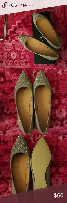 J Crew studded gray suede Amelia flats Pointed-toe gray suede studded flats. Super cute! Never worn (too small for me). Make an offer! J. Crew Shoes Flats & Loafers