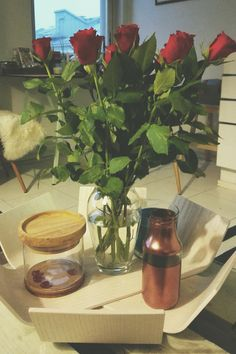 Roses and copper vase