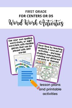This word work resource for first grade includes lesson plans, printable activities for all year long, and kid-friendly directions! For 6 of the core activities, have students bring word lists/cards to the center, and they can do the activity with their own words. Instant differentiation - without any additional prep work on your part! Cvce Words, Spelling Words, Word Work Centers, Literacy Centers, Teaching Writing, Teaching Ideas, Teaching Procedures, Phonics Programs, Sight Words List