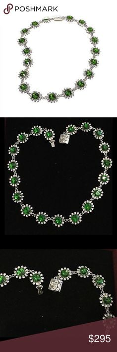 Simulated Emerald & Crystal Cluster Necklace Design Information  Necklace has linked stations  Each station has prong-set, cushion-cut simulated emerald in frame of bead-set, round, clear crystals HSN Jewelry Necklaces