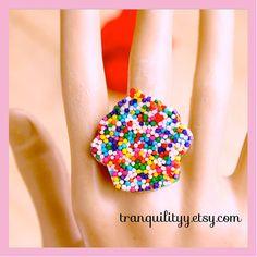 Sprinkle CupCake Resin Ring  Real Sprinkles Kawaii by tranquilityy