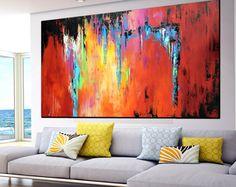 Extra Large abstrait peinture, Large fait à la main peinture abstraite sur toile, jaune orange de rouge art mural contemporain