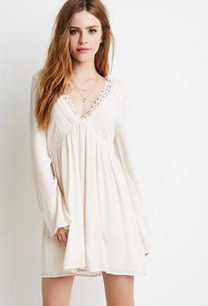 Crochet-Trimmed Babydoll Dress   Forever 21 - 2000053284