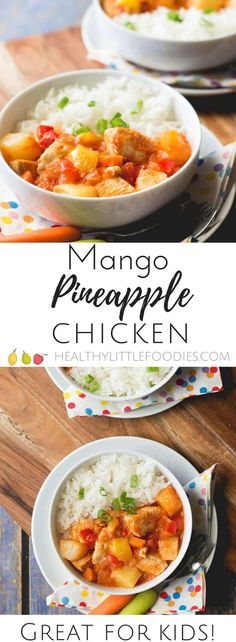 Mango pineapple chicken. A delicious fruity meal perfect for kids. Great for fussy eaters /picky eaters via @hlittlefoodies