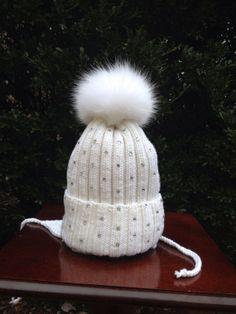 e2c2c83ed4c Ribbed Knit Beanie Wool Hat Fox Fur Pom Pom by HandmadeKnitsHats
