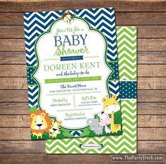 Safari Baby Shower Invitation: unique jungle themed printable DIY invite for baby boy shower or birthday, navy blue, green, chevron