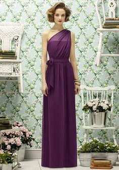 Sheath/ Column With Sash/ Ribbon Chiffon One Shoulder Natural Waist Bridesmaid Gowns - 1300105420B - US$119.99 - BellasDress