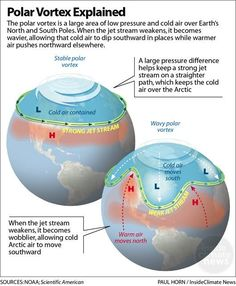 It might seem counterintuitive, but global warming plays a role in blasts of bitter cold weather. The reason: It influences the jet stream. BY BOB BERWYN, INSIDECLIMATE NEWS…More What Is Climate, Weather And Climate, Climate Change, Cold Weather, Teaching Geography, Physical Geography, World Geography, Earth And Space Science, Science And Nature