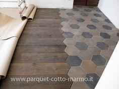 pavimento misto - cementine antiche e listoni legno anticato