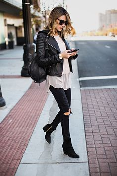 Hooded Leather Moto Jacket // Black Leather Backpack // Distressed Black Skinny Jeans // Black Suede Booties http://FashionCognoscente.blogspot.com